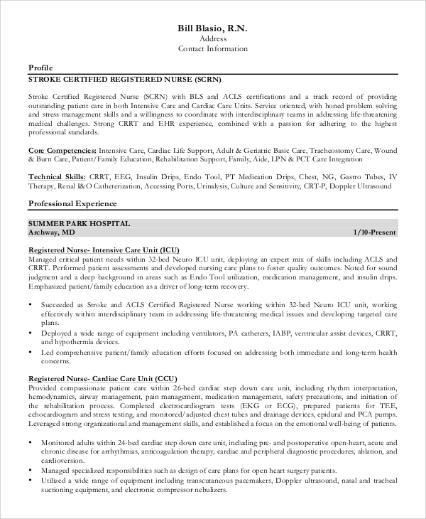 free sample registered nurse resume templates in ms word pdf template experinced hotel Resume Registered Nurse Resume Template Free