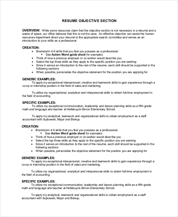 free sample resume objective examples in pdf section of example international development Resume Objective Section Of Resume