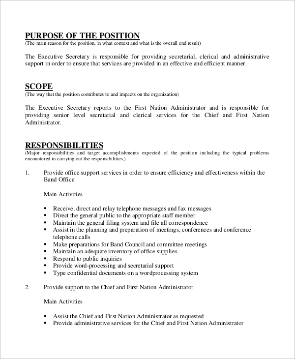 free sample secretary resume templates in ms word pdf objective for position job Resume Objective For Secretary Position Resume