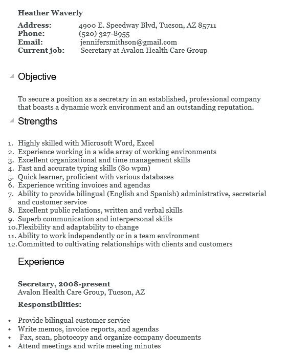 free secretary resume samples templates in ms word format sample objective for mrap Resume Objective For Secretary Position Resume
