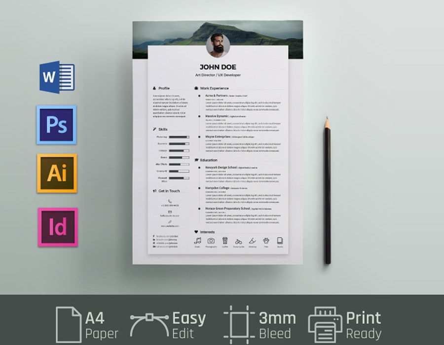 free simple resume cv template in and word format maxresumes microsoft templates ms Resume Free Microsoft Word Resume Templates 2020