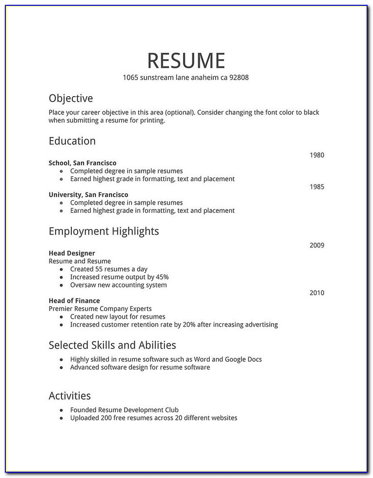 free simple resume examples vincegray2014 easy job dates on reference letter cfo Resume Easy Simple Resume Examples