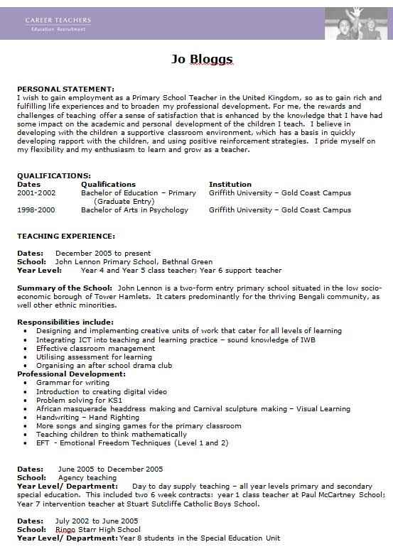 free teacher cv template collection edit in ms word primary school resume format career Resume Primary School Teacher Resume Word Format