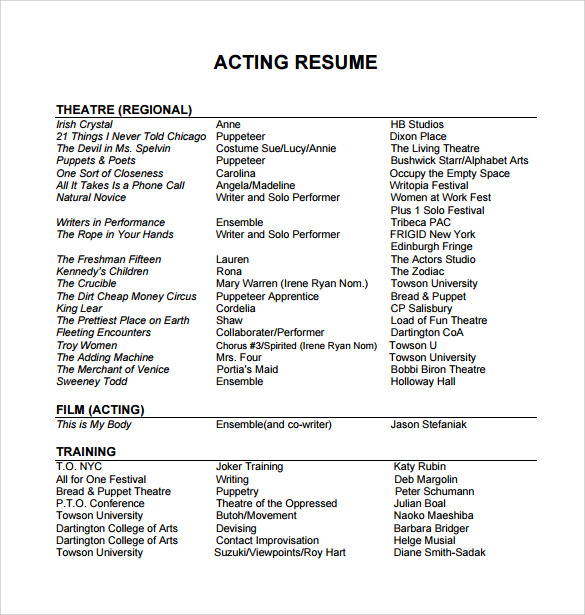 free useful sample acting resume templates in pdf ms word publisher professional template Resume Professional Acting Resume Template