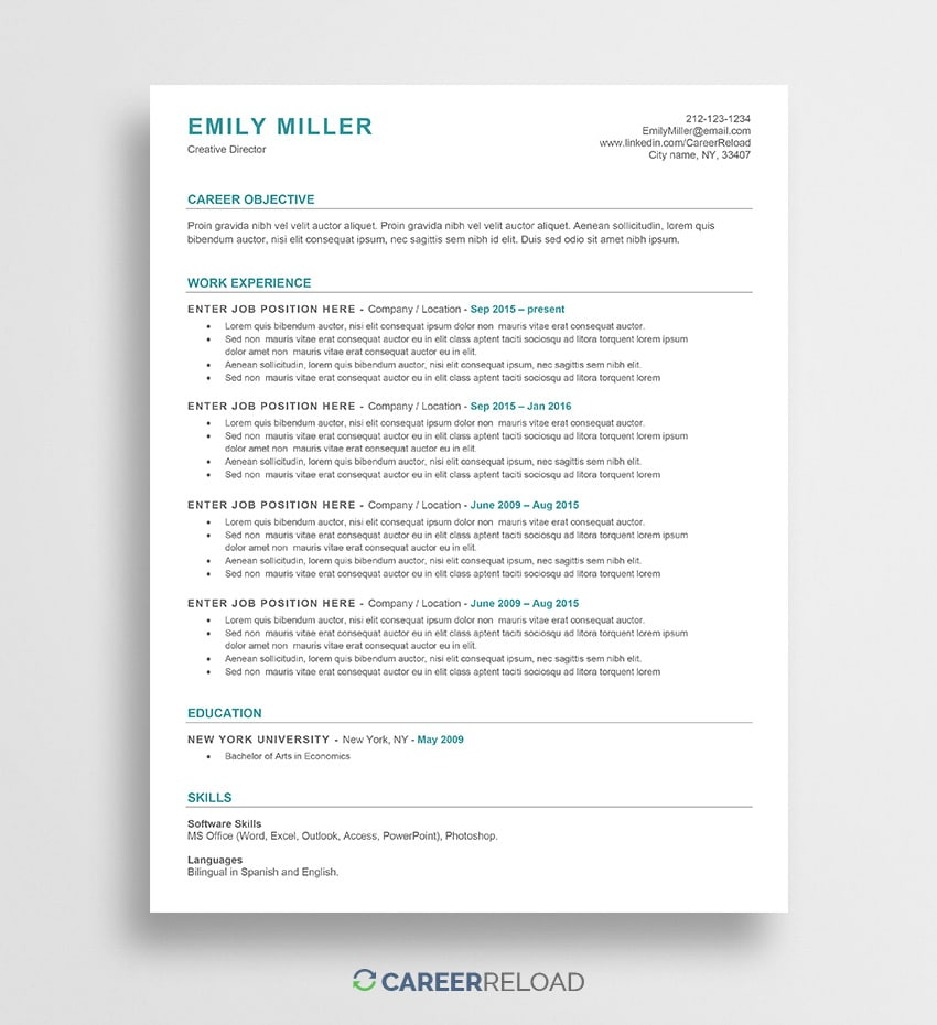 free word resume templates microsoft cv ats builder template emily cover letter format Resume Ats Resume Builder Free
