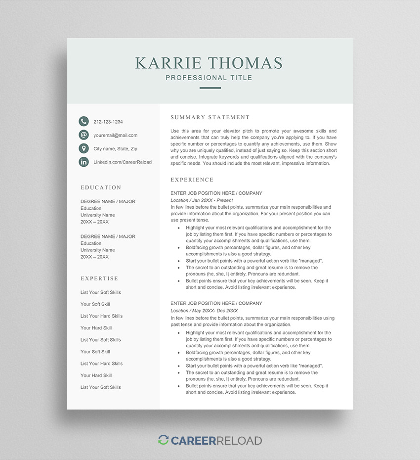 free word resume templates microsoft cv ats formatted template karrie summary for cashier Resume Ats Formatted Resume Template