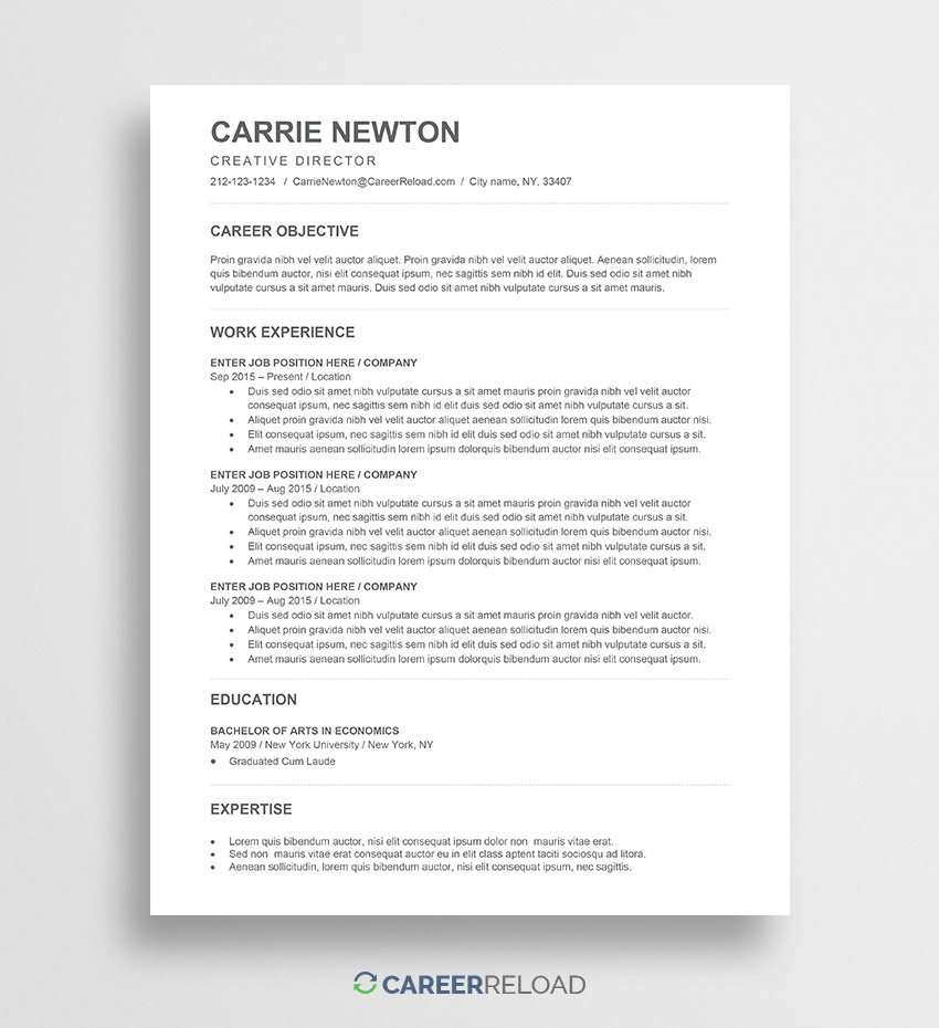 free word resume templates microsoft cv ats template carrie best professional examples Resume Free Ats Resume Templates