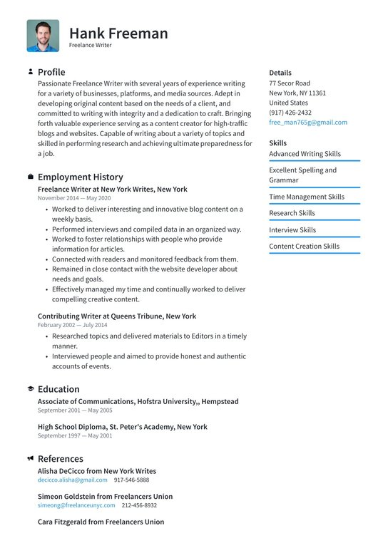freelance writer resume examples writing tips free guide sample linux software bookkeeper Resume Freelance Writer Resume Sample