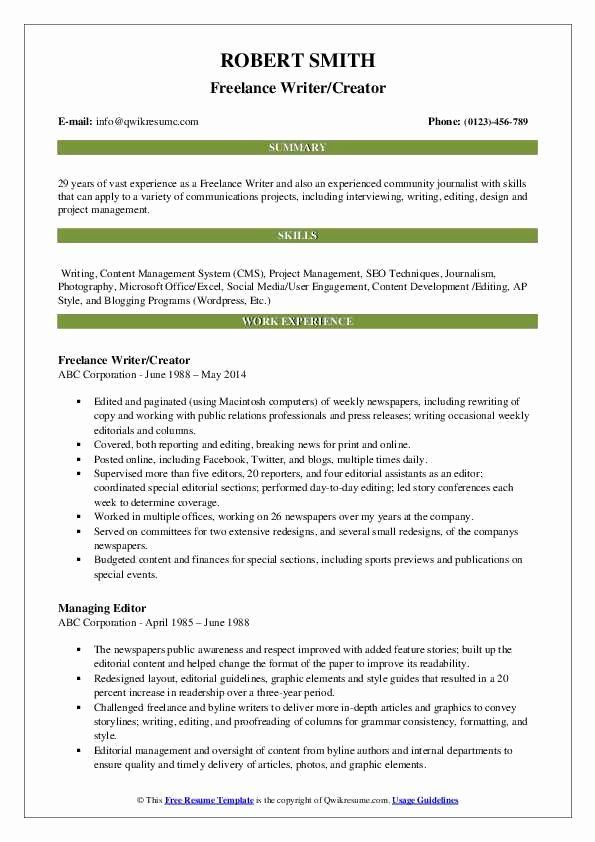 freelance writer resume no experience printable template examples manager sample lpn Resume Freelance Writer Resume Sample