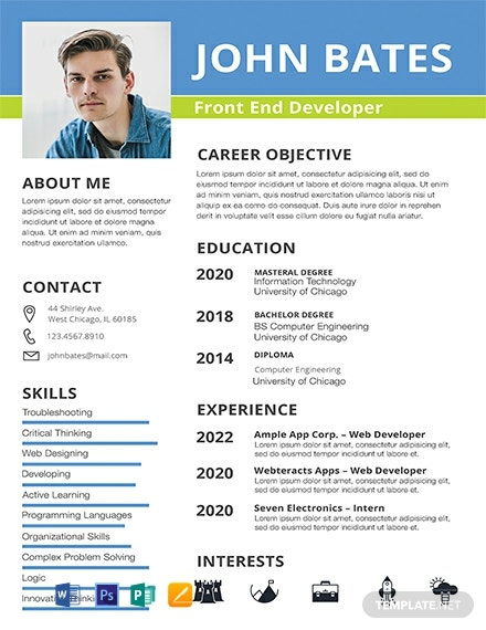 front end developer resume cv template word apple publisher example free 440x570 college Resume Front End Developer Resume Example