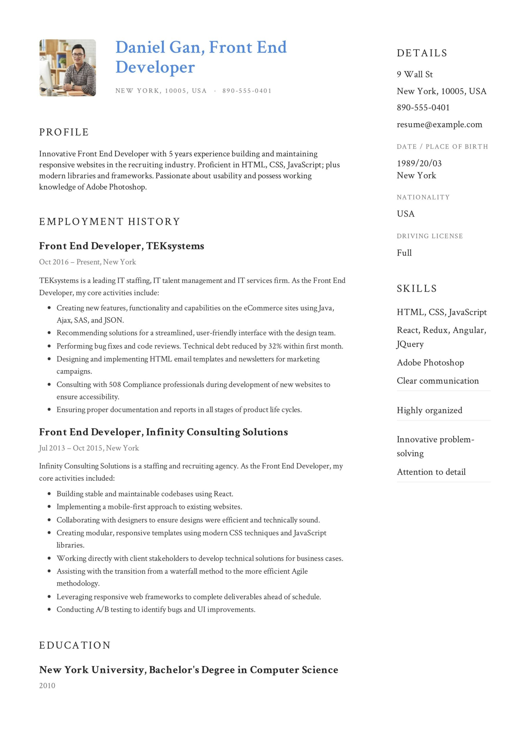 front end developer resume example examples objective and profile contract work on Resume Front End Developer Resume Example