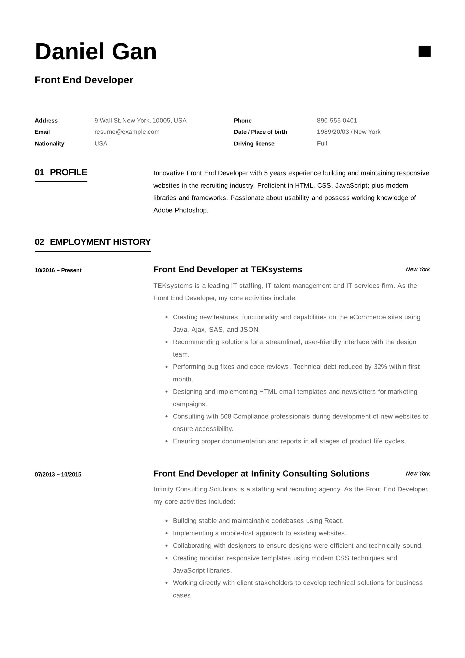 front end developer resume example examples template cover letter for receptionist Resume Front End Developer Resume Example
