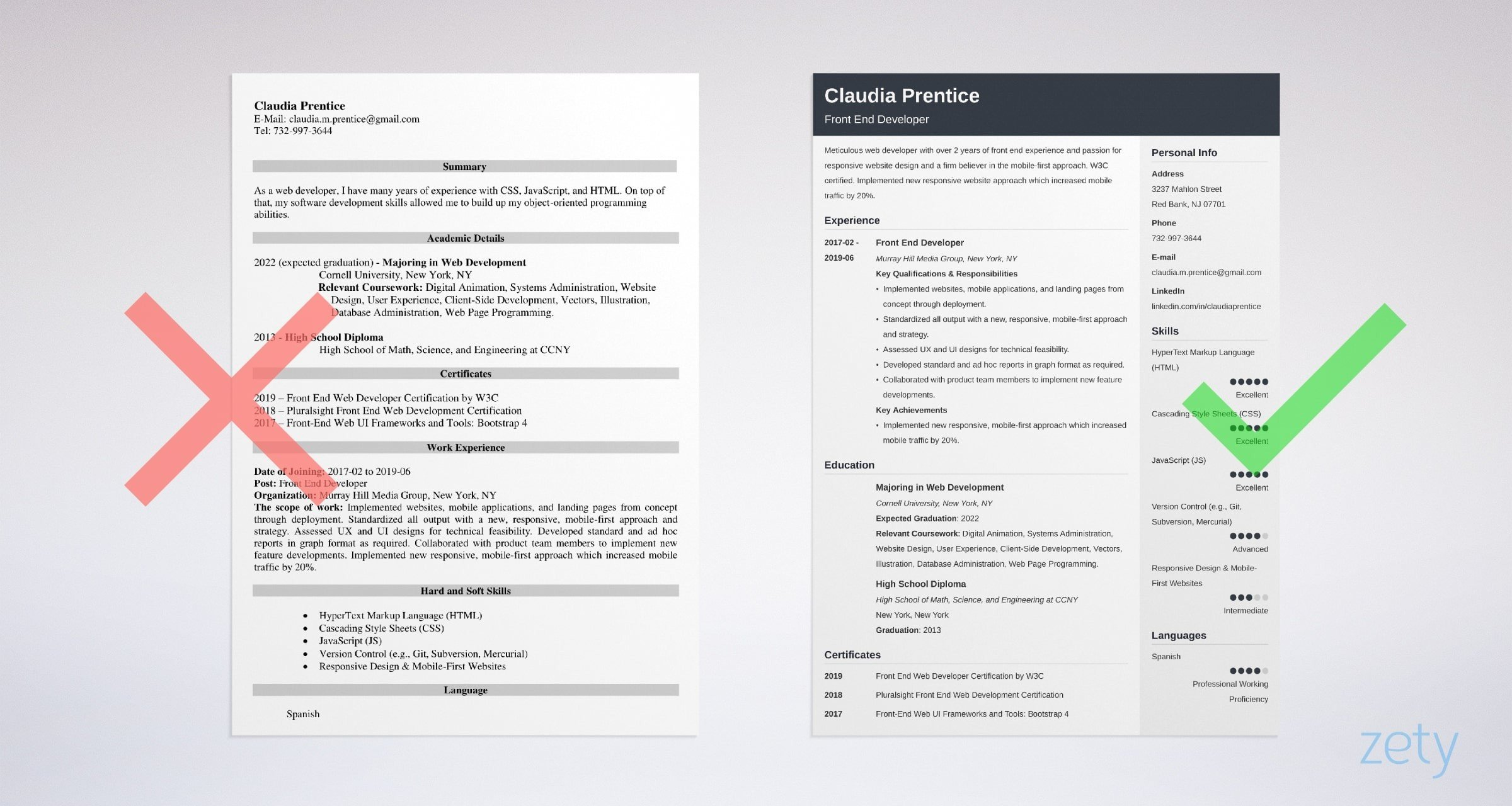 front end developer resume example guide tips current education conflict resolution Resume Front End Developer Resume Example