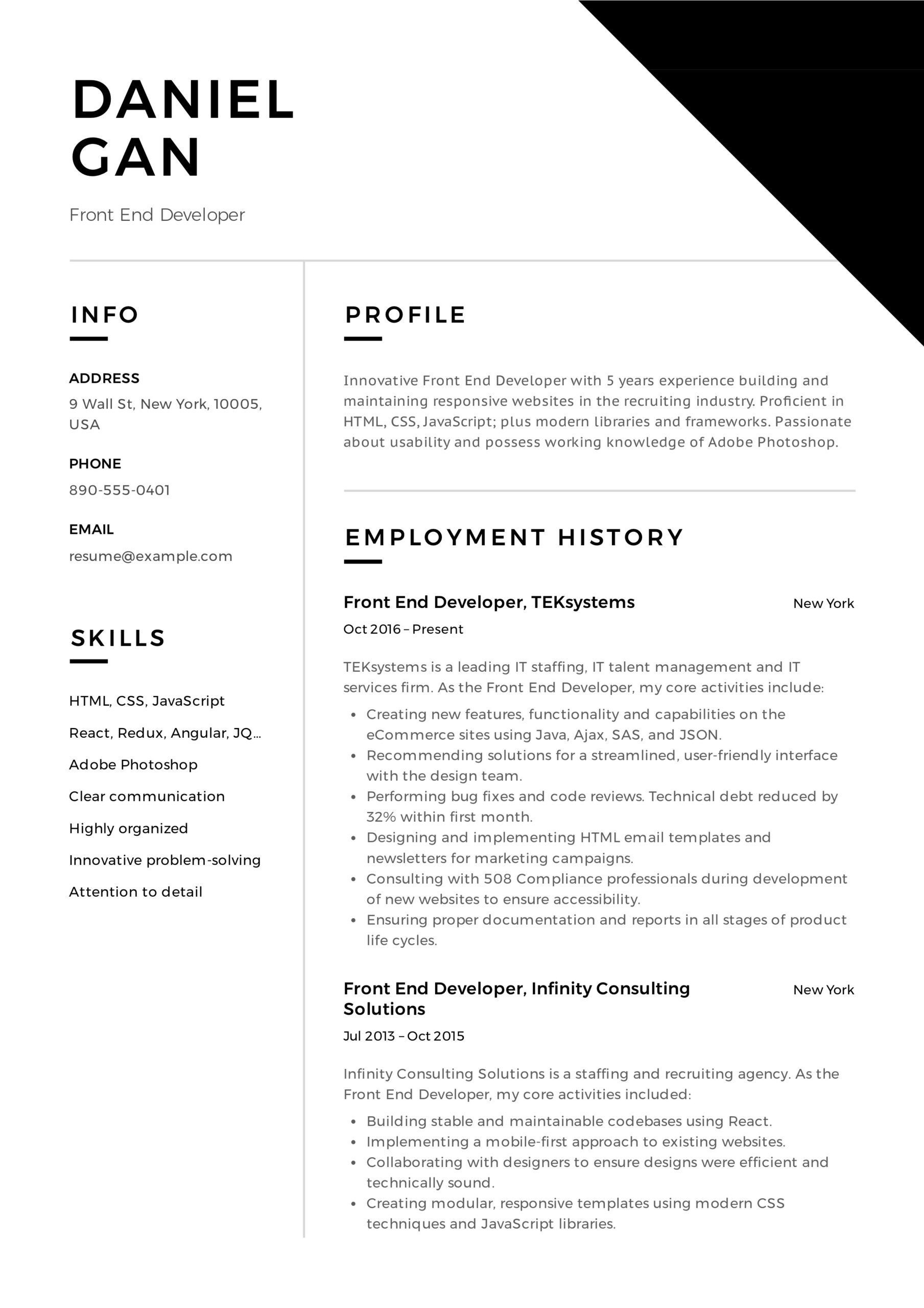 front end developer resume examples guide pdf example daniel gan army squad leader and Resume Front End Developer Resume Example