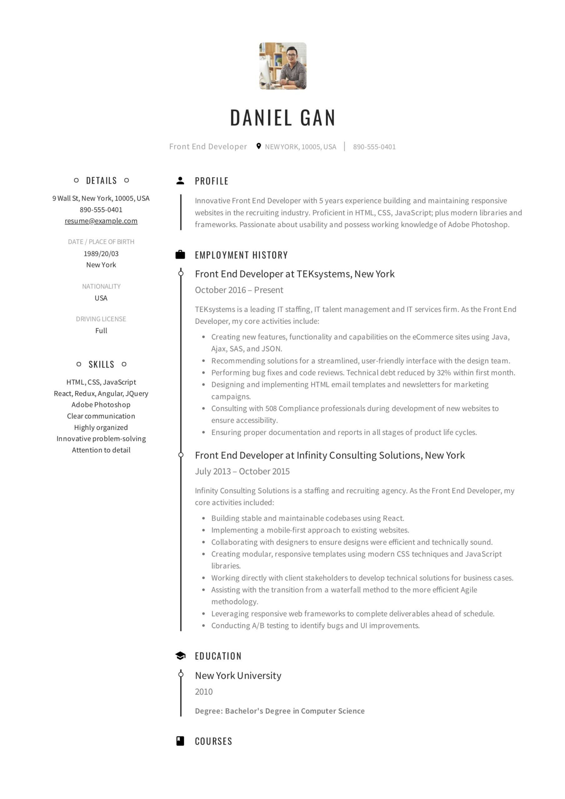 front end developer resume examples guide pdf example daniel gan certified professional Resume Front End Developer Resume Example