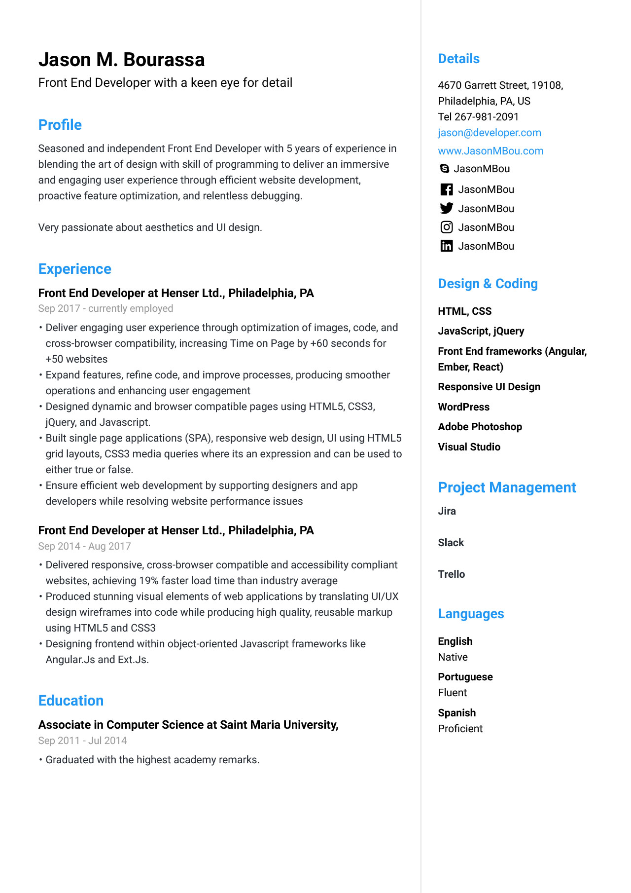 front end developer resume for example guide jofibo sample the shop ink unf help free Resume Resume Sample For Front End Developer