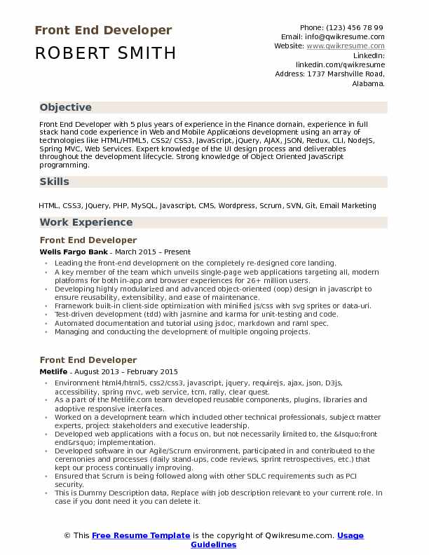 front end developer resume samples qwikresume example pdf law school application tips Resume Front End Developer Resume Example