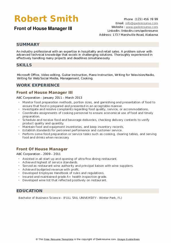front of house manager resume samples qwikresume staff pdf match psg quality assurance Resume Front Of House Staff Resume