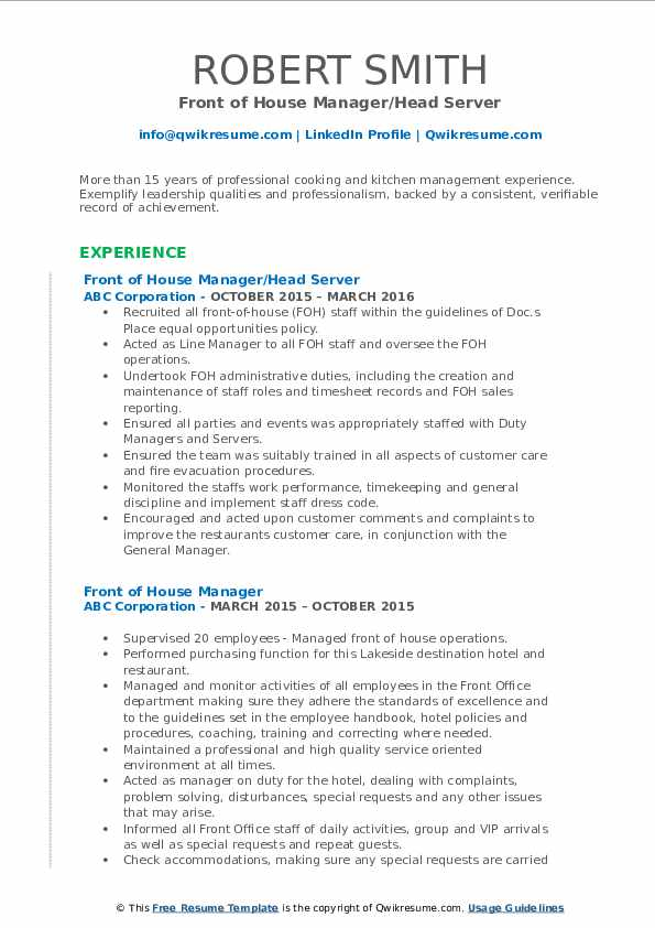front of house manager resume samples qwikresume staff pdf opening statement on writing Resume Front Of House Staff Resume
