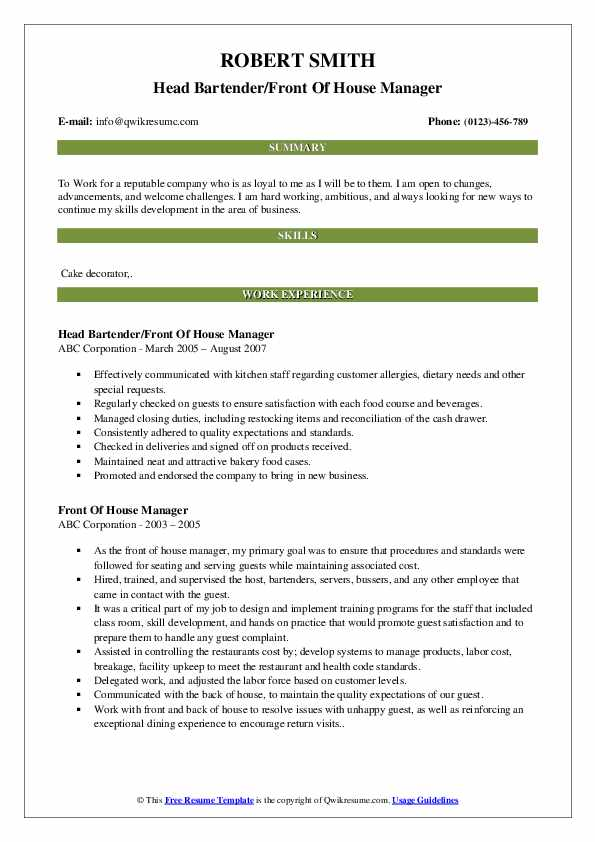 front of house manager resume samples qwikresume staff pdf professional objective Resume Front Of House Staff Resume