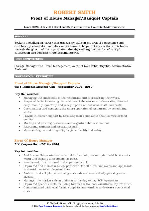 front of house manager resume samples qwikresume staff pdf teaching examples brooklyn Resume Front Of House Staff Resume