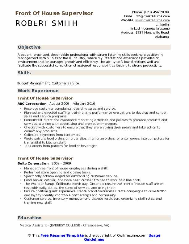 front of house supervisor resume samples qwikresume staff pdf quality assurance template Resume Front Of House Staff Resume