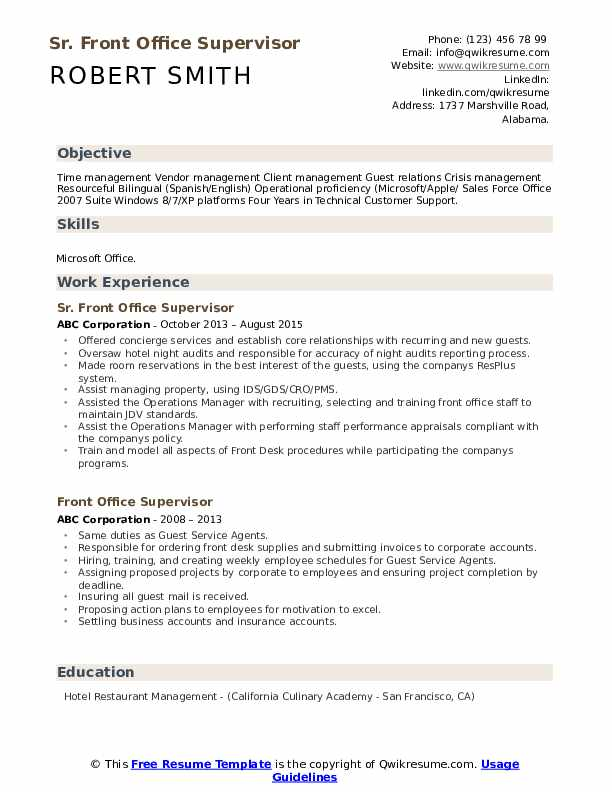 front office supervisor resume samples qwikresume post pdf tongue and quill template blt Resume Tongue And Quill Resume Template