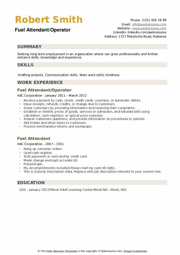 fuel attendant resume samples qwikresume free template for term employment pdf react Resume Free Resume Template For Long Term Employment