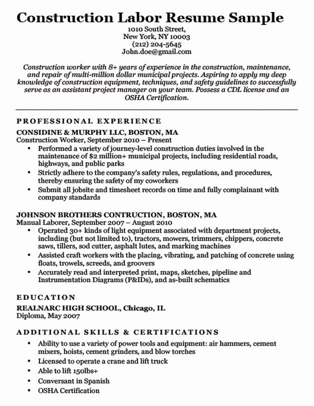 general construction worker resume inspirational labor sample good examples best template Resume Construction Job Resume Examples
