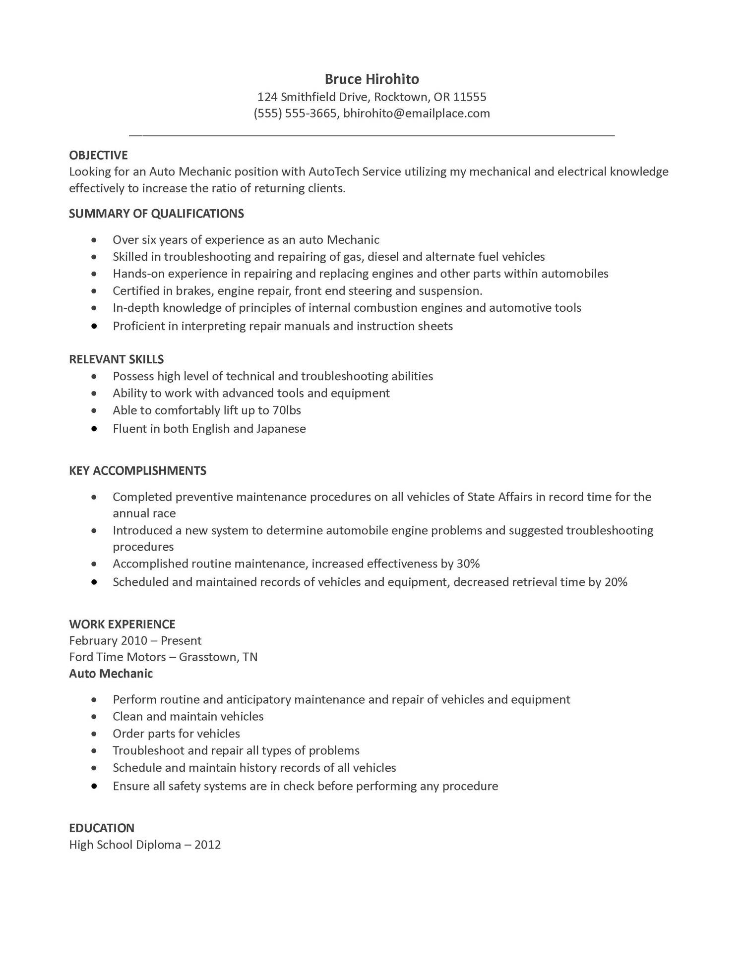 general labor resume samples technical writer sample with college degree diesel mechanic Resume Diesel Mechanic Resume Template