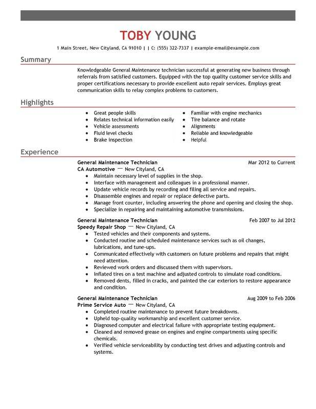 general maintenance technician resume examples free to try today myperfectresume sample Resume Maintenance Resume Sample