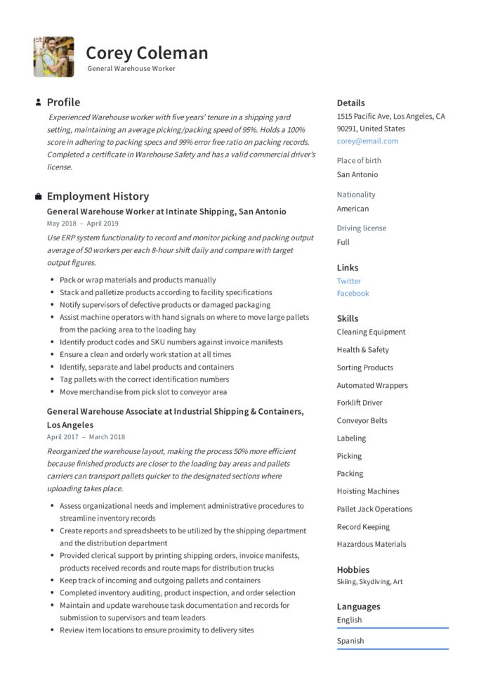 general warehouse worker resume guide templates examples for associate corey courtesy Resume Resume Examples For Warehouse Associate