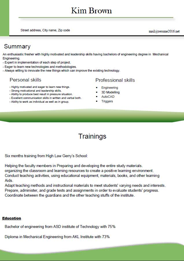 good resume letter latest format for freshers or nurse examples data science example Resume Latest Resume Templates For Freshers