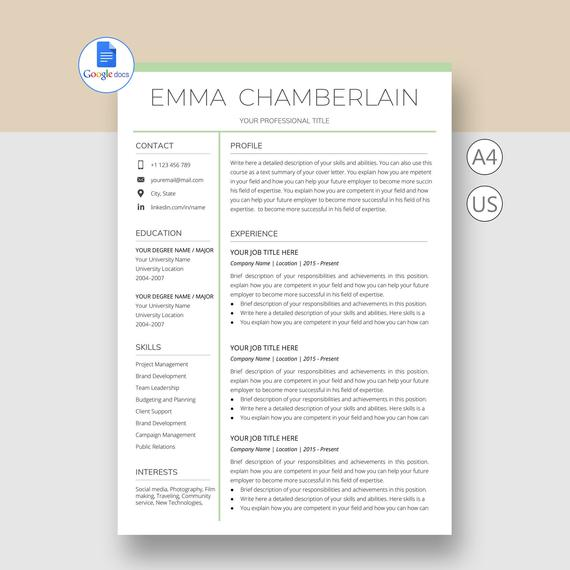 google docs resume template with cover letter professional etsy and il 570xn s41k Resume Cover Letter And Resume Template Google Docs