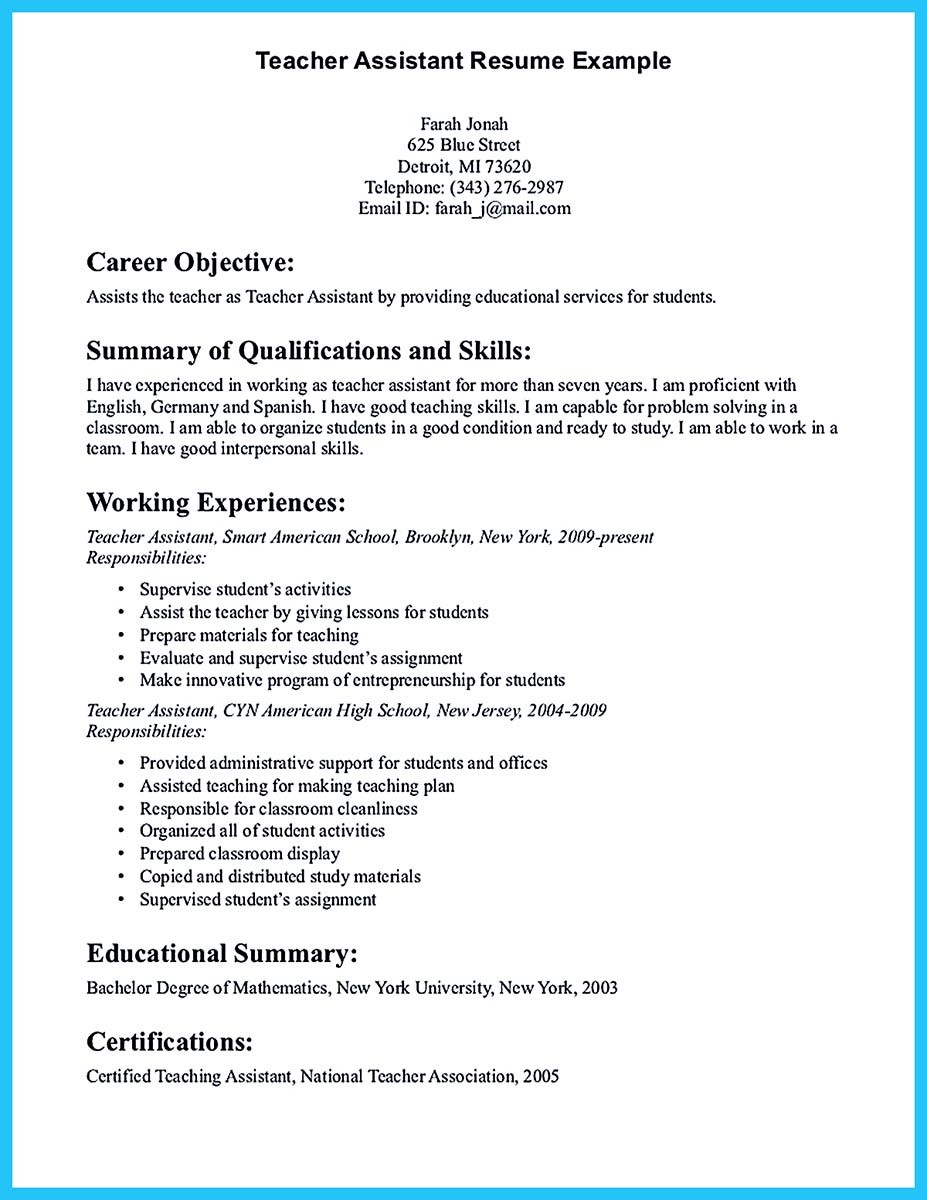 grabbing your chance with an excellent assistant teacher resume objective example Resume Teacher Assistant Resume Objective
