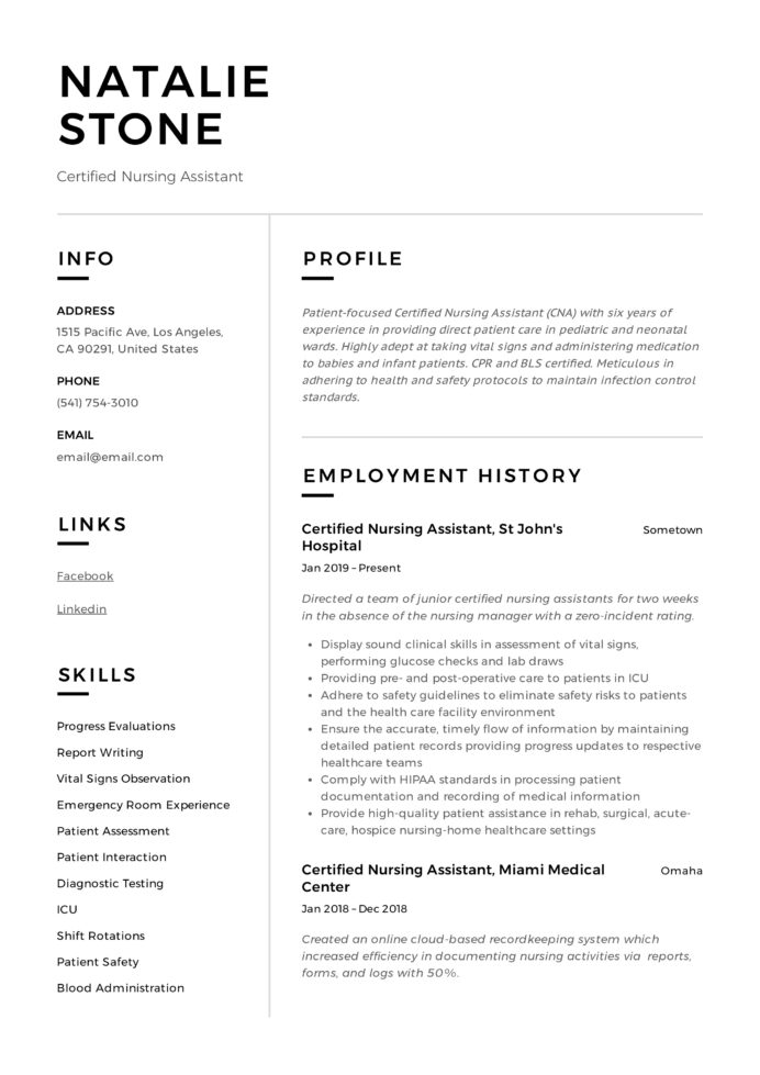 great resume certified nursing assistant sample social media personal trainer template Resume Resume Format For Cts Company