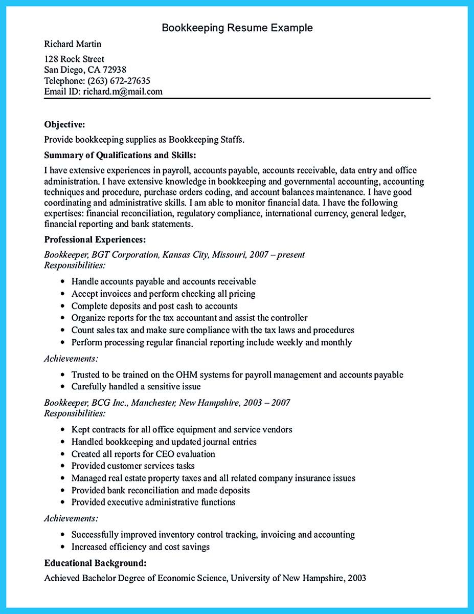 greatest bookkeeper resume to greater description of duties for data entry objective Resume Description Of Bookkeeper Duties For Resume