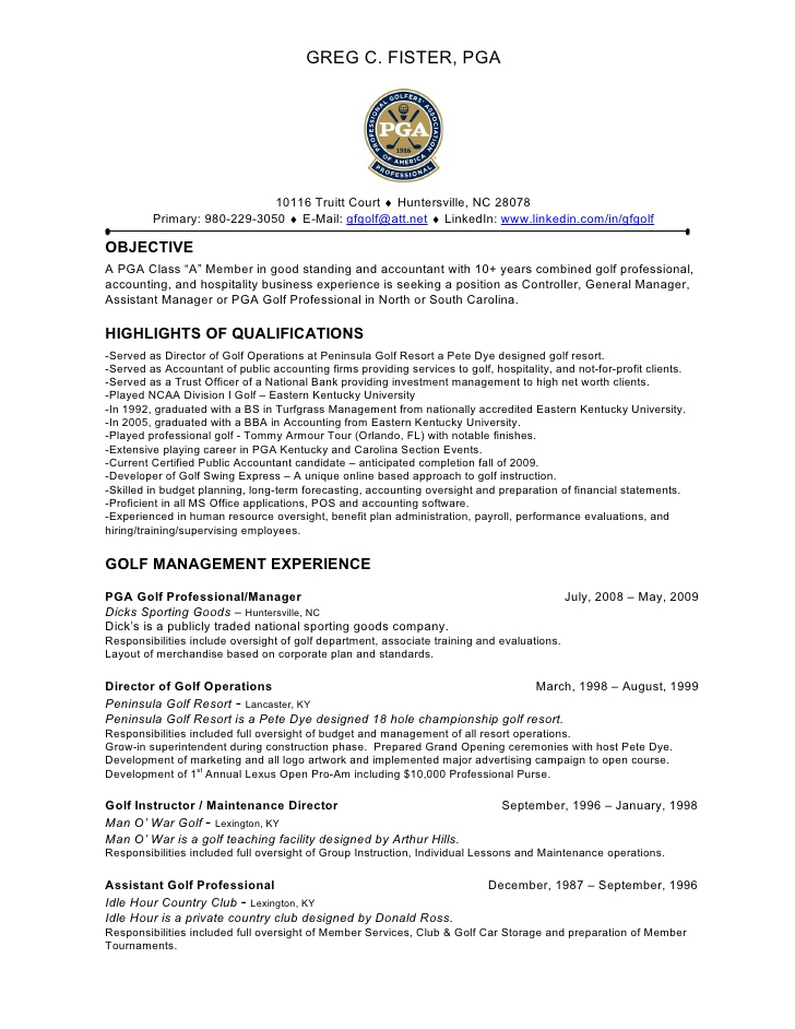 greg fister pga resume assistant golf professional server summary examples best short for Resume Assistant Golf Professional Resume