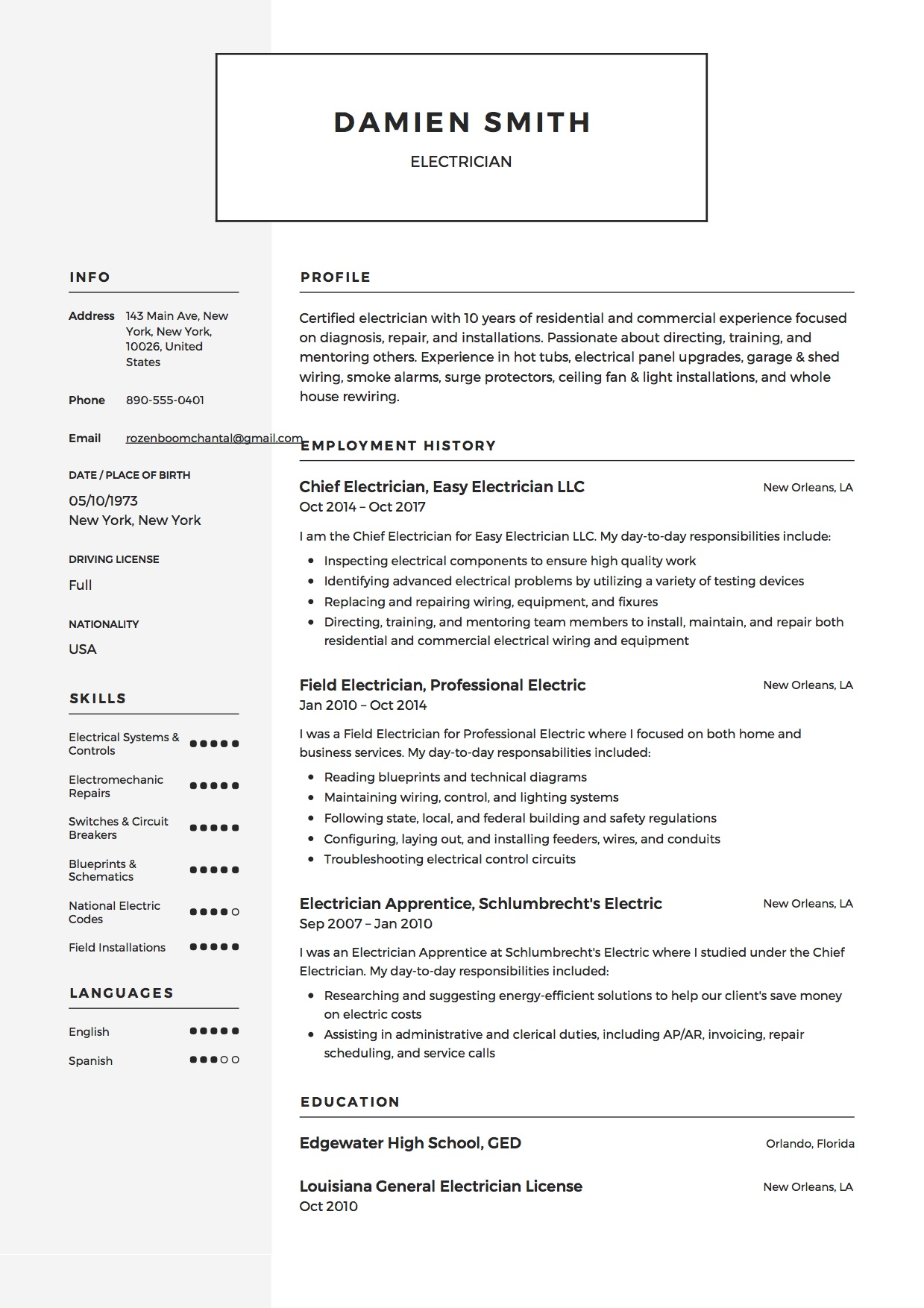 guide electrician resume samples examples pdf word template example delivery driver Resume Electrician Resume Template