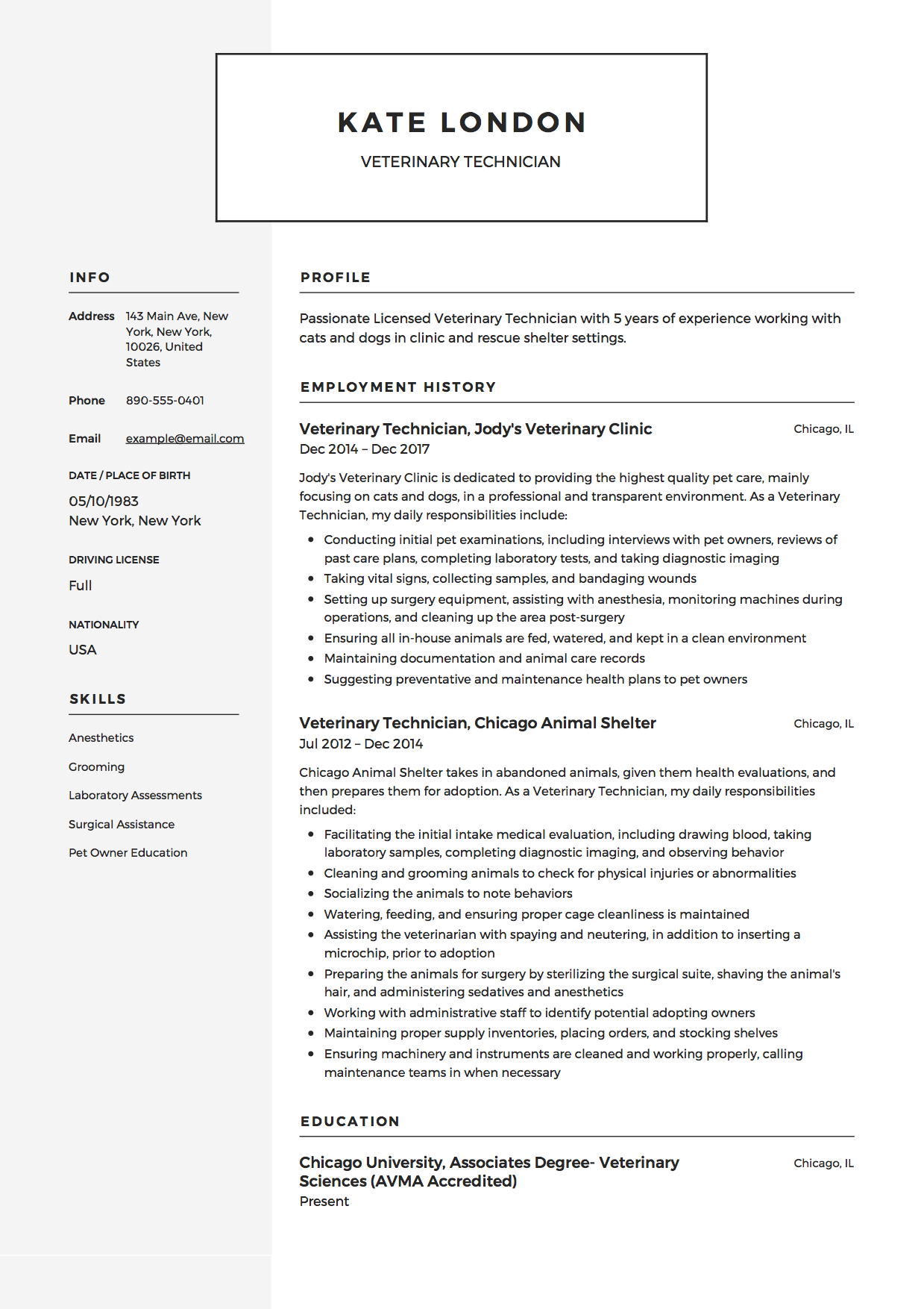 guide veterinary technician resume samples pdf sample example immigration consultant Resume Veterinary Technician Resume Sample