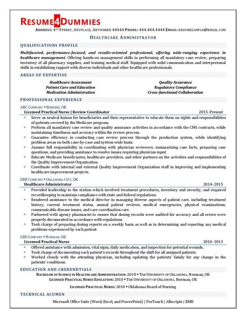 healthcare administrator resume examples sample for professional 791x1024 summary Resume Sample Resume For Healthcare Professional