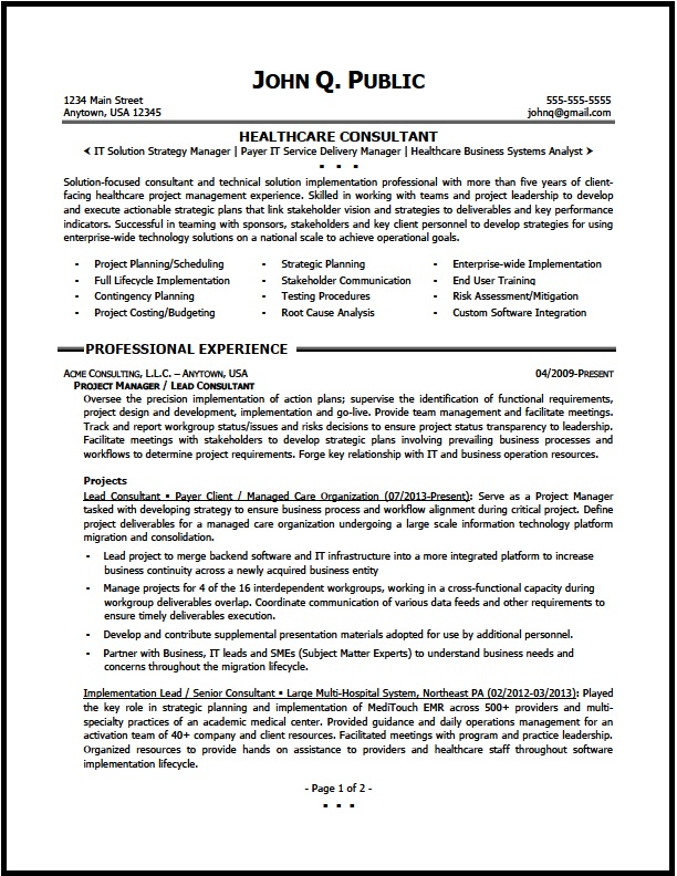 healthcare consultant resume sample the clinic strategy consulting01 pg1 housekeeping Resume Strategy Consultant Resume
