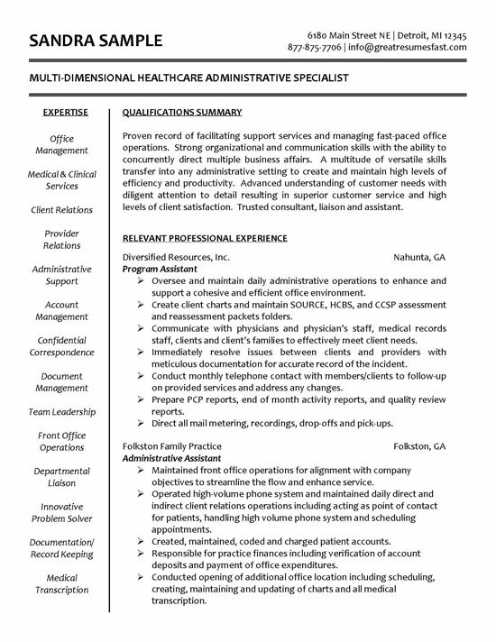 healthcare specialist administrative assistant resume medical examples health care skills Resume Health Care Skills For Resume