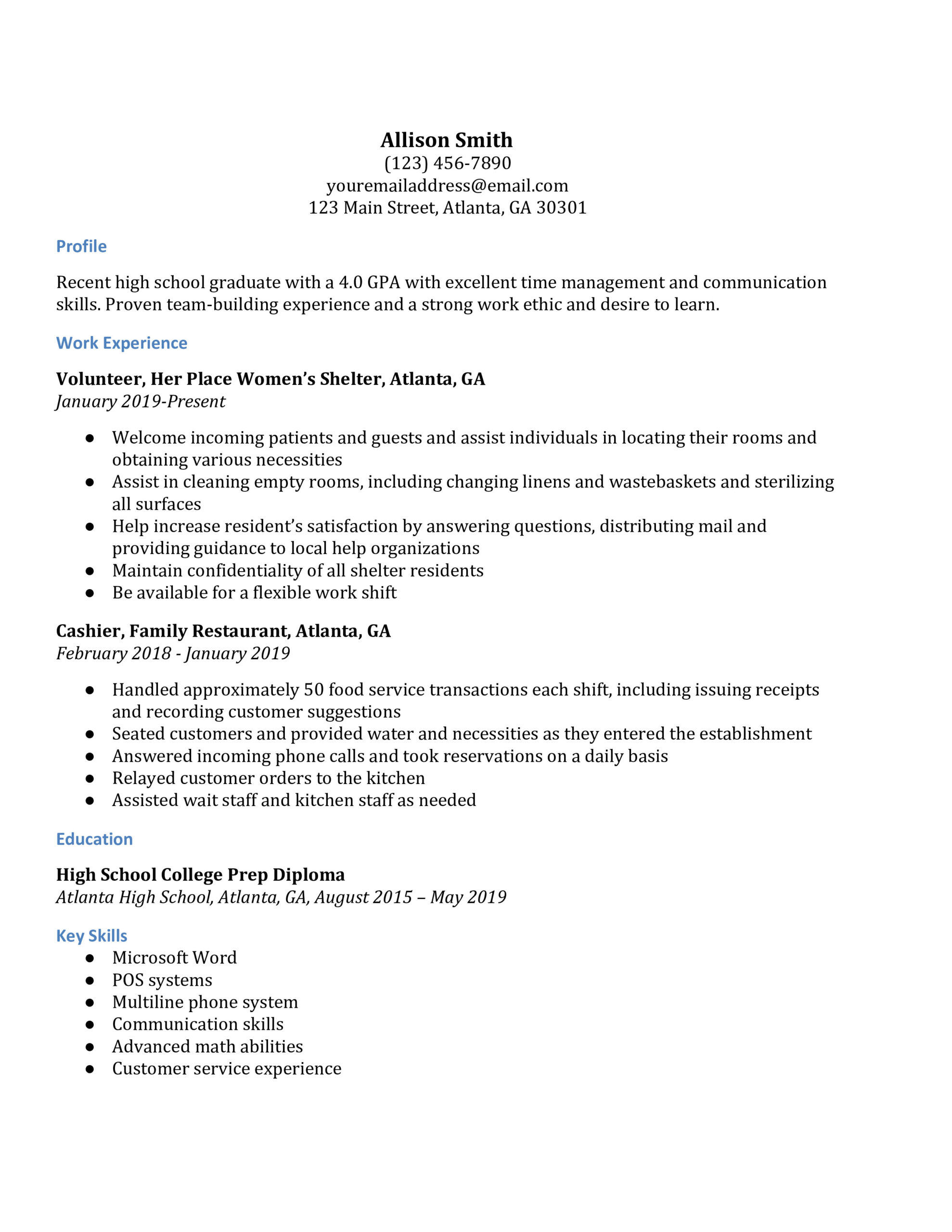 high school resume examples resumebuilder for college general tips professional Resume High School Resume Examples For College