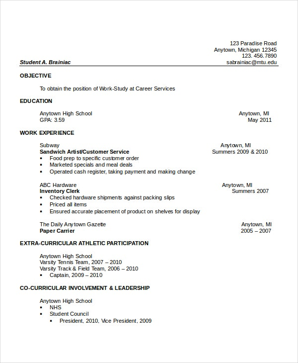 high school resume templates examples samples format free premium another word for Resume Another Word For Extracurricular Activities On Resume