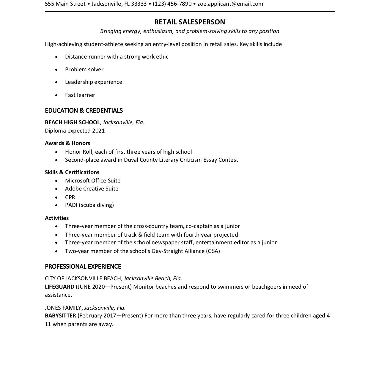 high school student resume template examples for college devops intern sap basis Resume High School Resume Examples For College