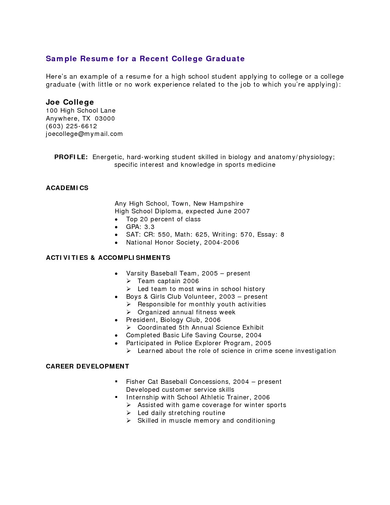 high school student resume with no work experience examples for students template college Resume Resume With No Work Experience College Student Template