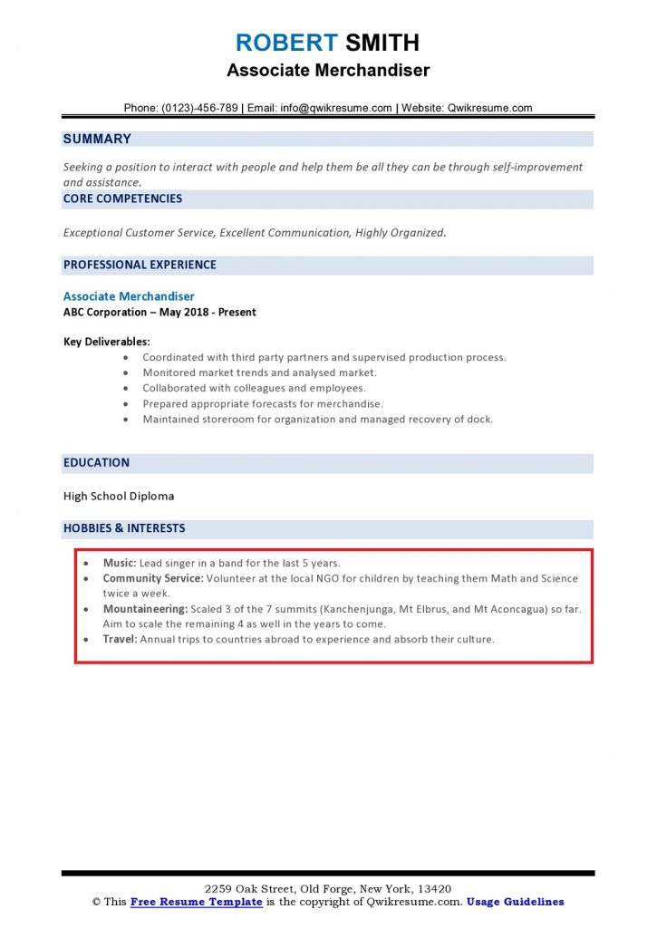 hobbies and interests on resume to examples section sample page0001 725x1024 library Resume Resume Interests Section Sample