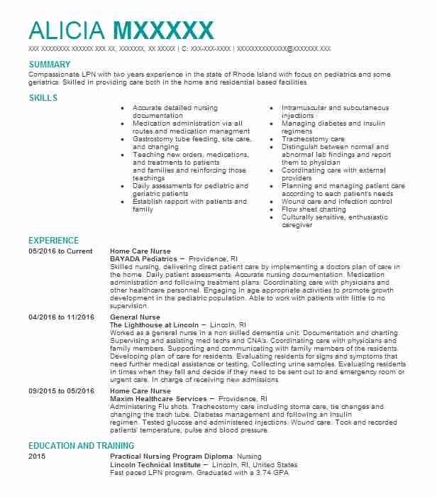 home care nurse resume example nursing resumes livecareer health lpn job description for Resume Home Health Lpn Job Description For Resume