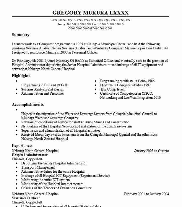 hospital administrator examples resumes livecareer medical administration resume Resume Medical Administration Resume Examples